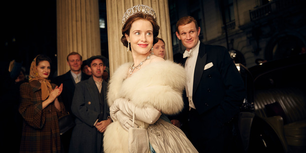 Claire Foy as Queen Elizabeth II and Matt Smith as Philip Mountbatten, Duke of Edinburgh, in Netflix's The Crown. Photo / Robert Viglasky, Netflix