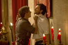 Jimmi Simpson as William and Ben Barnes as Logan in Westworld, hanging out and arguing in the midst of a mass orgy, like you do. Photo / John P. Johnson, HBO