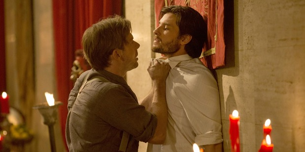 Loading Jimmi Simpson as William and Ben Barnes as Logan in Westworld, hanging out and arguing in the midst of a mass orgy, like you do. Photo / John P. Johnson, HBO