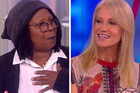 The View's Whoopi Goldberg (left) and Donald Trump's campaign manager Kellyanne Conway got into it over whose campaign tactics were more