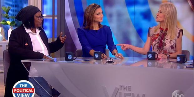 Kellyanne Conway (right) got into it with Whoopi Goldberg (left), who attacked Donald Trump for saying the media and the polling was 'rigged'. Photo / ABC