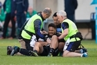 All Blacks centre George Moala on the ground with a serious injury, during the test match between the New Zealand All Blacks and Ireland. Photo/Brett Phibbs
