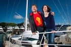 Sian Robertson with her father Doug Robertson, are both taking part in the peace flotilla that will protest the arrival of 12 naval warships. Photo/Jason Oxenham