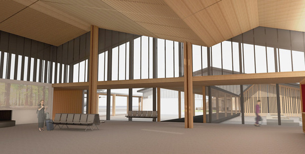 An artist's impression of the new terminal at Rotorua Airport.