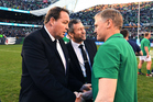 All Blacks coach Steve Hansen congratulates Ireland coach Joe Schmidt on his side's historic 40-29 victory over the All Blacks at Chicago's Soldier Field. Photo / Photosport
