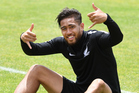 Bill Tuiloma takes a break during an All Whites training session ahead of their World Cup qualifier against New Caledonia in Albany on Saturday. Photo / Photosport