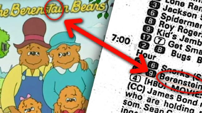 A scene from a YouTube clip attempting to prove the spelling 'Berenstain' is somehow a trick.