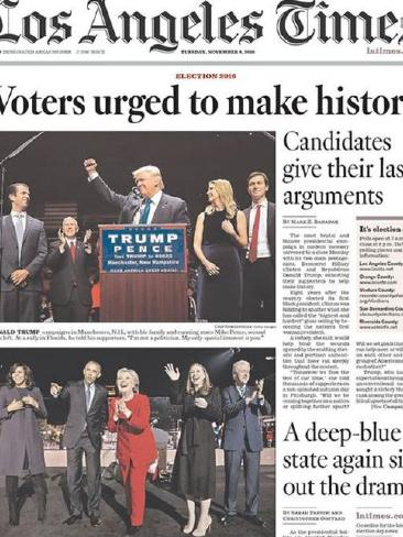 The LA Times recognised the historical nature of the vote. Photo / Supplied