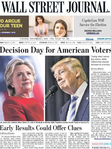 The Wall Street Journal front page on election day. Photo / Supplied
