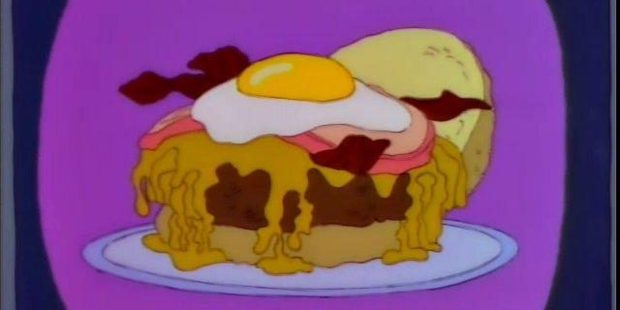 'Then we top it off with bacon, ham, and a fried egg. We call it the Good Morning Burger.'