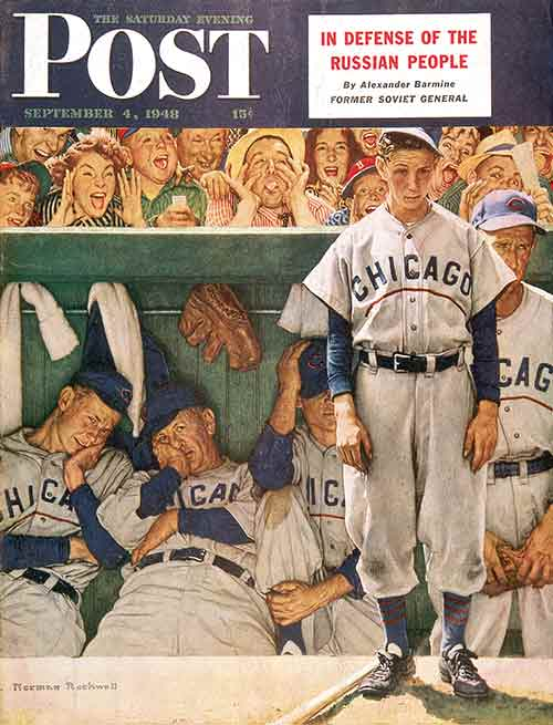 Norman Rockwell's classic 1948 illustration - The Dugout. Photo / The Saturday Evening Post