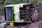 A photo issued by the Rail Accident Investigation Branch of the tram which derailed near the Sandilands stop in Croydon, London which killed at least seven people.