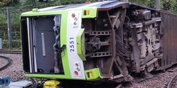 Loading A photo issued by the Rail Accident Investigation Branch of the tram which derailed near the Sandilands stop in Croydon, London which killed at least seven people.