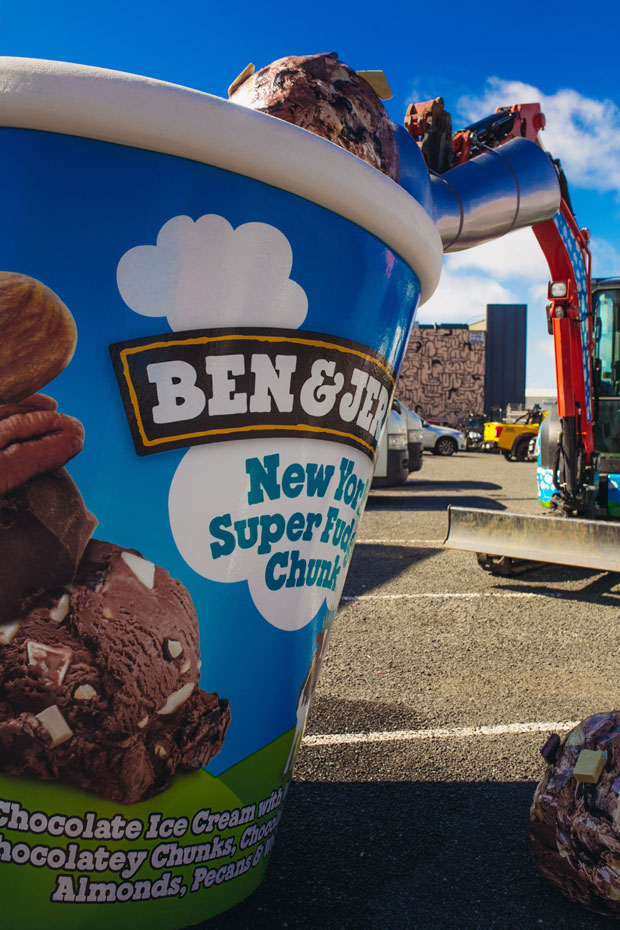 The Ben & Jerry's digger will be scooping out free ice-cream over three days.