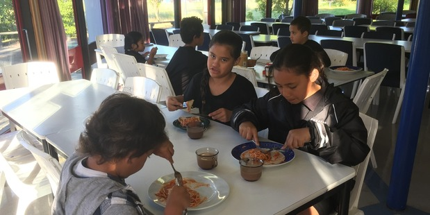 """Loading About 25 children have breakfast most mornings at Kimi Ora Community School in Flaxmere, where 39 per cent of children aged 0 to 5 are said to be """"at risk"""" of poor outcomes. Photo / Simon Collins"""