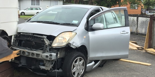 The front end of the car was extensively damaged. Photo / Natalie Akoorie.