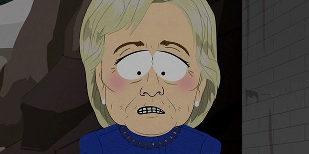 Hillary Clinton appears dismayed in an image from the latest episode of South Park. Photo/Twitter