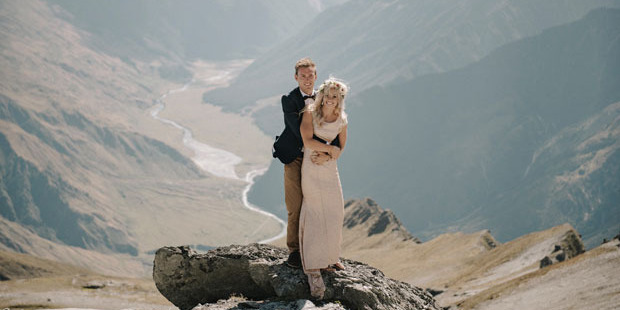 Newlyweds Pete and Nadia Stanton were captured in the mountain ranges in stunning photographs by Mickey Ross.