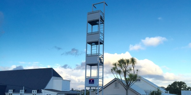 The tower the crew can practice their climbing on. Photo / Sarah Harris