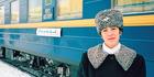 Attendant on the Trans Siberian Railway.
