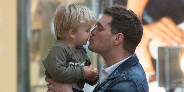 Michael Buble and son Noah in Madrid, Spain. Photo / Getty