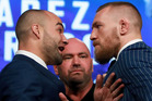 Conor McGregor and Eddie Alvarez face-off ahead of their UFC 205 fight at Madison Square Garden in New York. Photo / Getty Images