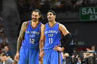 Steven Adams and Enes Kanter of the Oklahoma City Thunder. Photo / Getty Images
