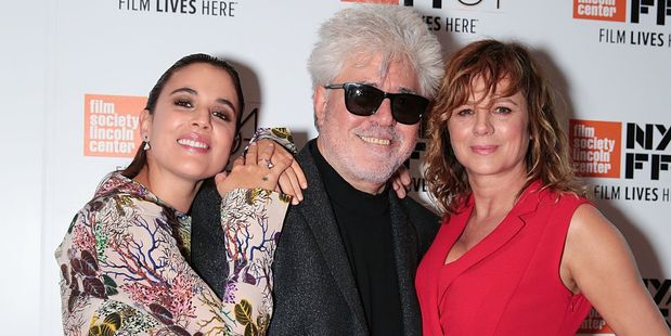 Adriana Ugarte, Pedro Almodovar, and Emma Suarez at Alice Tully Hal. Photo / Getty Images