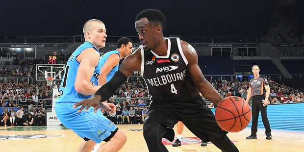 Cedric Jackson of United dribbles against the New Zealand Breakers. Photo / Getty Images