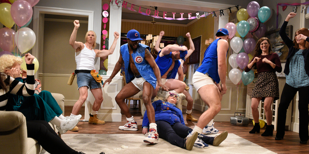 (l-r) Benedict Cumberbatch, Dexter Fowler, David Ross, Aidy Bryant, Anthony Rizzo, Melissa Villase & others during Saturday Night Live filming. Photo / Getty