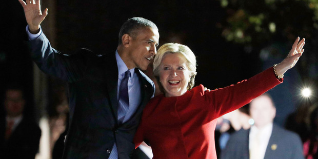 "Hillary Clinton embraces Barack Obama during ""The Night Before"" rally at Independence Hall on November 7, 2016 in Philadelphia, Pennsylvania. Photo / Getty"