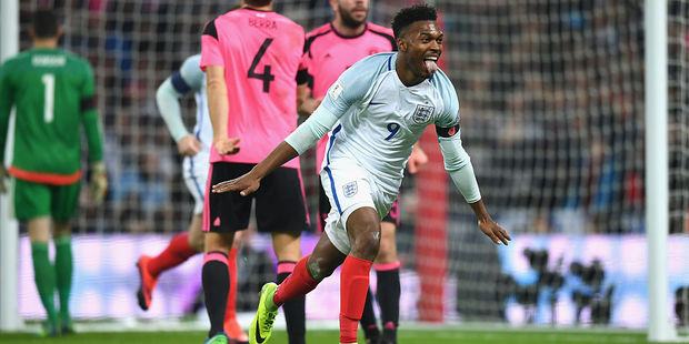 Daniel Sturridge of England celebrates scoring the opening goal during the FIFA 2018 World Cup Qualifier between England and Scotland at Wembley Stadium. Photo / Getty Images