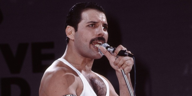 Freddie Mercury of Queen performs on stage at Live Aid at Wembley Stadium in London. Photo / Getty Images