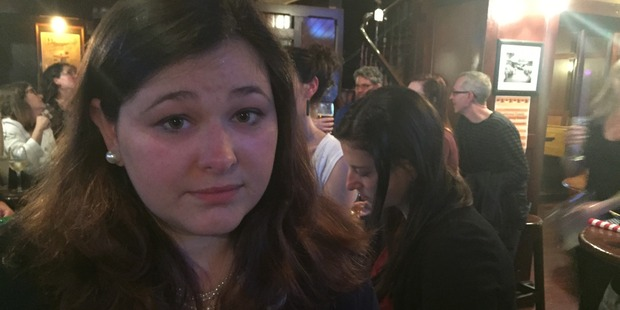 Amanda Richards anxiously watches the results come in. Photo / Melissa Nightingale