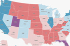 The electoral map as it stands according to projections from The Washington Post. Photo / Supplied