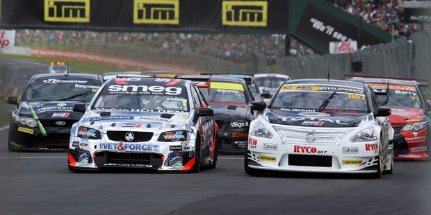 Simon Evans leads the NZ Touring Cars field at Pukekohe. Photo / Supplied