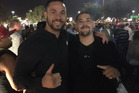 Joseph Parker has got close and personal with his next opponent Andy Ruiz Jr in Las Vegas. Photo / Twitter.