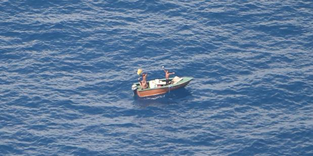 The three fishermen were spotted waving from their boat. Photo/supplied