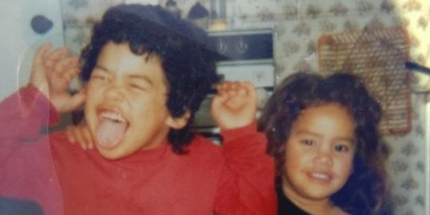 Young Vicki Letele with her brother Dave. Photo / Supplied