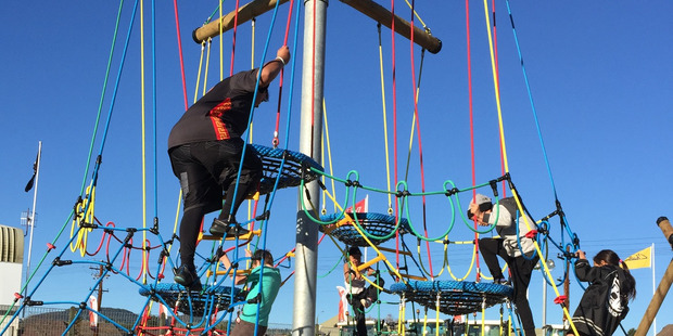 Brightly coloured climbing equipment is part of the Eastside Youth Space at Puketawhero Park. The Mokoia Community Association is asking artists to submit ideas and designs for the waharoa (entrance way).  Photo/Supplied