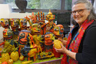 Janet DeBoos was the international judge at this year's Portage Ceramics Award, the country's top ceramic award.  She is pictured with Jim Cooper's Shrine from the Temple of the Good Shepherds.