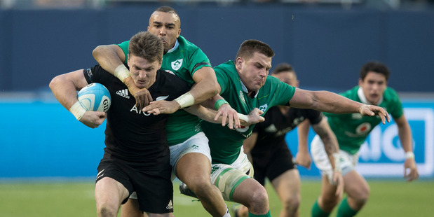Beauden Barrett in action during the test match between the All Blacks and Ireland. Photo / Brett Phibbs