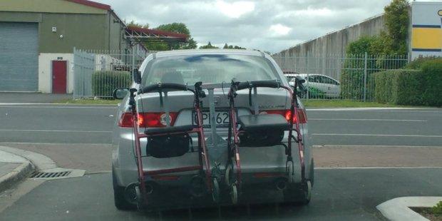 Dual walker racks on the car. Spotted leaving a retirement village in Hamilton, by Dorrie Jones.