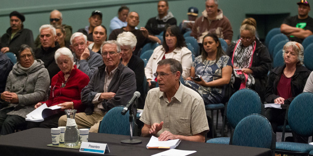 Eldad Collins speaking at day one of the Koutu Hotel hearing. PHOTO/STEPHEN PARKER