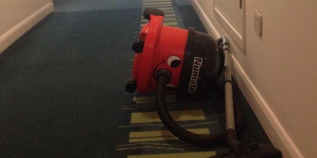 Anthropomorphic vacuum cleaner: Drunk and can't even find her room.