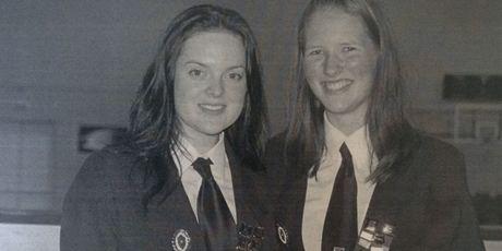 Katrina Coyle nee Veysey (right) with classmate Adele Pascoe. PHOTO/SUPPLIED
