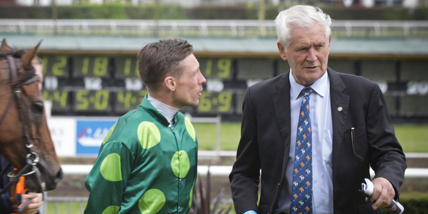 Winning horse Abidewithme, jockey Michael McNab and Sir Patrick Hogan at the presentation after winning the feature race at Christmas at the Races at Tauranga on Saturday. PHOTO: ANDRW WARNER