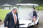 Winston Peters stares down a golf cart in the Northland electorate. Photo / Greg Bowker