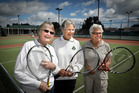 Three women in their 80s are retiring from Mount Maunganui Tennis Club (l-r) Bub O'Connor, Naomi Carson, and Betty Hind. Photo/Andrew Warner