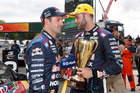 Shane Van Gisbergen of Red Bull Racing (right) during the ITM Auckland SuperSprint, at the Pukokohe. Photo / Mark Horsburgh